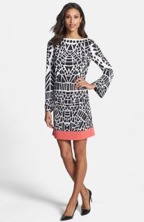 Nicole Miller Yin Yang Print Jersey Shift Dress