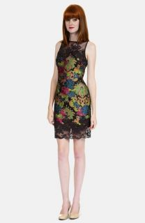 Kay Unger Floral Appliqué Lace Sheath Dress