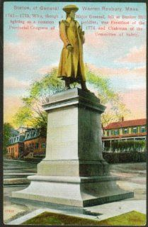 General Warren Statue Roxbury MA postcard 191?: Collectibles & Fine Art