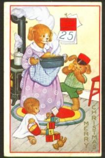 Merry Christmas Mama Dog cooks for Pups postcard 191?: Collectibles & Fine Art