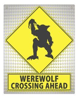WEREWOLF Street Sign / HALLOWEEN bathroom plaque scary funny retro gift MANCAVE boys wall decor 194 : Yard Signs : Patio, Lawn & Garden