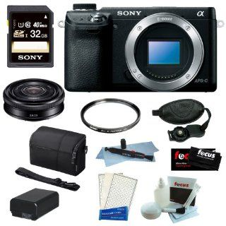 Sony Alpha NEX 6 NEX 6B NEX 6L/B 16.1MP Mirrorless Digital Camera with Interchangeable E Mount Lens and 3 inch Tiltable LCD (Black, Body Only) + Sony 32GB Class 10 Memory Card + Sony SEL 20F28 E Mount 20mm F2.8 Prime Lens + Sony Camera Case + Accessory : C