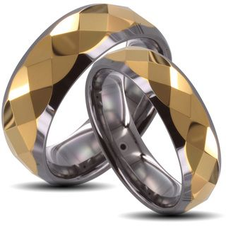 Tungsten Carbide Two tone Goldplated Faceted His and Her Wedding Band Set Men's Rings