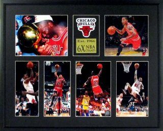 "Chicago Bulls ""6X NBA CHAMPS"" Patch Display (Featuring Michael Jordan, Derrick Rose, Scotty Pippin, Dennis Rodman & Trophy) Framed : Sports Fan Photographs : Sports & Outdoors"