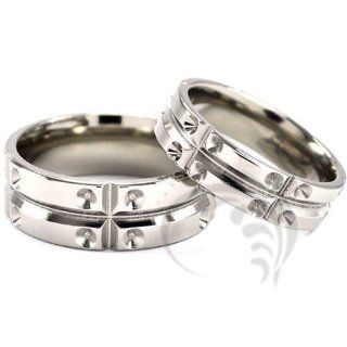Attractive 14k White Gold His and Hers Wedding Rings 6 mm, 8 mm: Jewelry