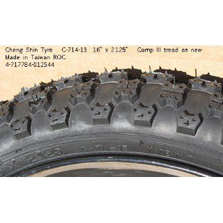 "Cheng Shin C714 Comp III Type Bicycle Tire (Wire Bead, 16 x 2.125"", Black Wall) : Bike Tires : Sports & Outdoors"