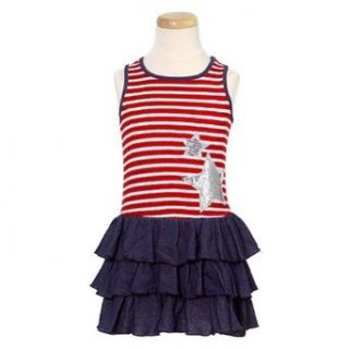 Lipstik Little Girls Trendy Red Stripe Denim Star Designer Dress 4: Me Me Me: Clothing