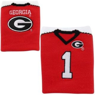 Georgia Bulldogs #1 Football Wrist Sweatband   Red