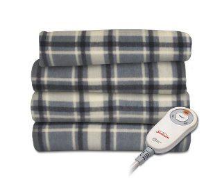 Sunbeam TSF8UP R871 31A00 Fleece Heated Throw, Hamilton Plaid/Slate Black   Throw Blankets