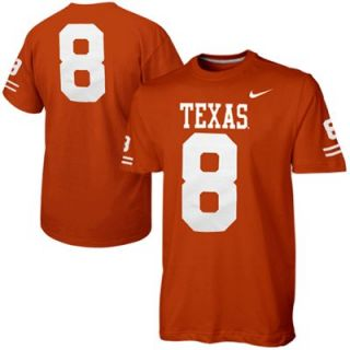 Nike Texas Longhorns #8 Replica Football Player T Shirt   Burnt Orange