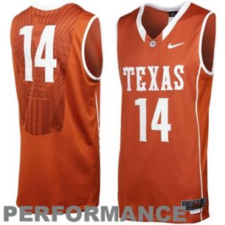 Nike Texas Longhorns #14 Swingman Aerographic Twill Basketball Jersey   Burnt Orange