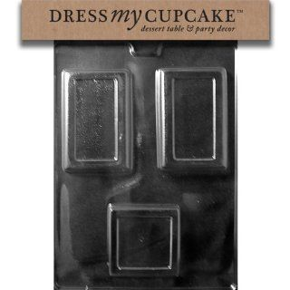 Dress My Cupcake DMCM199SET Chocolate Candy Mold, 1 Square/2 Rectangle Bar, Set of 6: Kitchen & Dining