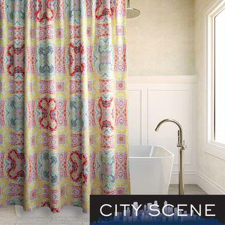 City Scene Juniper Paisley Cotton Shower Curtain City Scene Shower Curtains