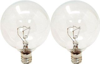 GE Lighting Crystal Clear 17722 25 Watt, 195 Lumen G16.5 Light Bulb with Candelabra Base, 2 Pack: Home Improvement