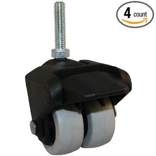 Jacob Holtz 205 2XTPR 29 WB X Caster, low profile caster, thermoplastic rubber dual wheel small caster with brake (Set of 4): Industrial & Scientific