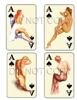 Vintage Ace of Spades pinup playing cards decals #207 Musical Instruments