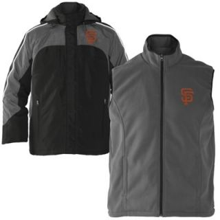 San Francisco Giants 4 3 Defense Full Zip Jacket   Black/Gray
