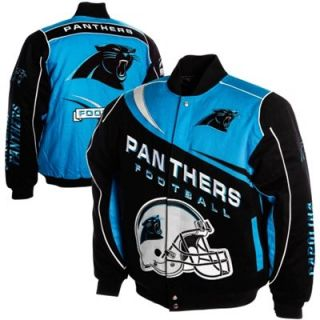 Carolina Panthers Kick Off Twill Jacket   Black/Panther Blue