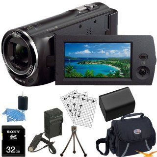Sony HDR CX240 HDR CX240/B CX240 Full HD 60p Camcorder   BlACK Ultimate Bundle with 32GB High Speed Micro SD Card, Spare High Capacity Battery, AC/DC Charger, Table top Tripod, Padded Case, Micro HDMI Cable, LCD Screen Protectors, and Lens Cleaning Kit Ca