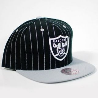 Oakland Raiders Mitchell & Ness Pinstripe Black 2 Tone Snapback Hat: Clothing