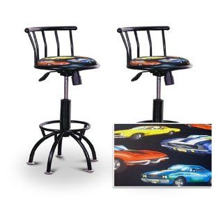 "2 24"" 29"" Old Muscle Car Hotrod Fabric Seat Black Adjustable Specialty / Custom Barstools Set   Barstools With Backs"
