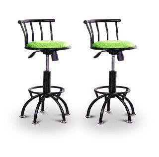 2 Green Glitter Vinyl Black Adjustable Barstools   Home Bars