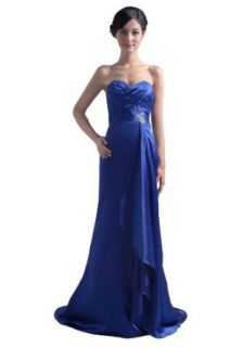 Dresstells Sweetheart Brush Satin Long Evening Gown Formal Beach Wedding Party Dress: Clothing