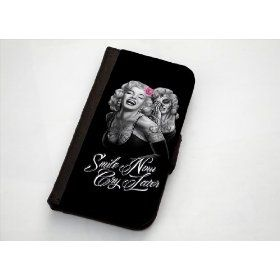 "Marilyn Monroe And Her Ghost ""Smile Now, Cry Later"" iPhone 5 Leather Wallet Case: Cell Phones & Accessories"
