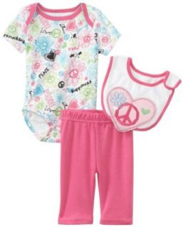 Infant Girl's 3 Piece Value Set, Pink Peace Signs & Hearts: Clothing