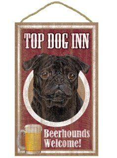 Top Dog Inn Pug (Black) Beerhounds Welcome Sign Plaque for Bar or Home