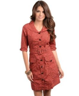 247 Frenzy Button Front Animal Print Belted Dress   Brick (Small): Clothing