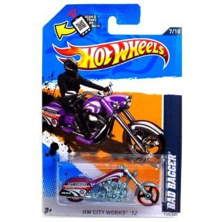 2012 Hot Wheels HW City Works Bad Bagger MOTORCYCLE CHOPPER purple 7/10 #137/247: Toys & Games