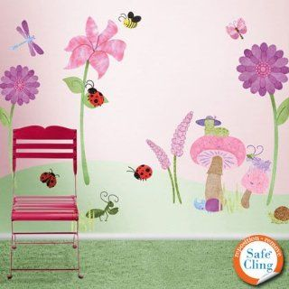 Bugs and Flowers Wall Stickers   Repositionable & Removable Floral Theme Wall Decals for Girls Room   Wall Decor Stickers