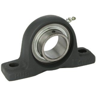 "Hub City PB251URX2 3/16 Pillow Block Mounted Bearing, Normal Duty, High Shaft Height, Relube, Setscrew Locking Collar, Narrow Inner Race, Cast Iron Housing, 2 3/16"" Bore, 2.55"" Length Through Bore, 2.5"" Base To Height: Industrial & Scien"