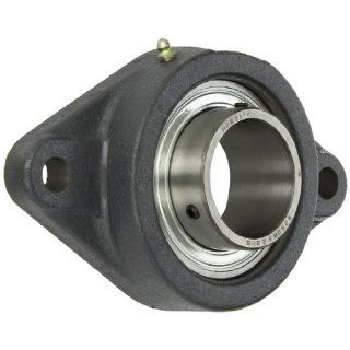 "Hub City FB260URX2 3/16 Flange Block Mounted Bearing, 2 Bolt, Normal Duty, Relube, Setscrew Locking Collar, Narrow Inner Race, Cast Iron Housing, 2 3/16"" Bore, 2.32"" Length Through Bore, 7.252"" Mounting Hole Spacing: Industrial & Scienti"