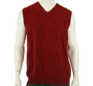 Oscar De La Renta V Neck Sweater Vest Bright Red L: Clothing