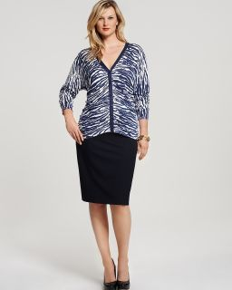 "Lafayette 148 New York Plus Size Animal Print Petal Yarn Cardigan and ""Lola"" Stretch Wool Pencil Skirt's"