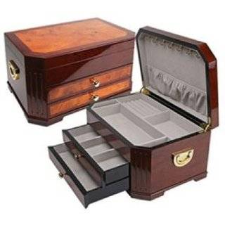 QUALITY IMPORTERS The Havana Jewelry Box   Heavily lacquered, luxurious Rosewood finish, Extra large main compartment, 2 drawers for additional storage and 5 necklace hooks inside lid / JBQ SA104 /