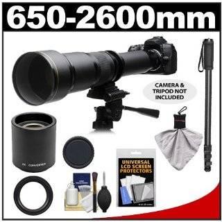 Rokinon 650 1300mm f/8 16 Telephoto Zoom Lens with 2x Teleconverter (=650 2600mm) + Monopod Kit for Canon EOS 7D, 5D Mark II III, 60D, Rebel T3, T3i, T2i Digital SLR Cameras: ROKINON: Camera & Photo