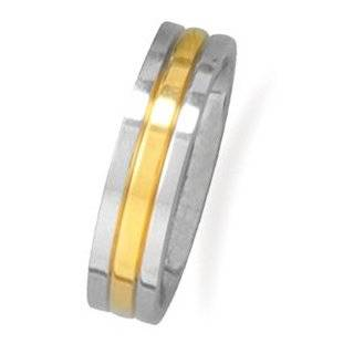 Stainless Steel and 14 Karat Gold Plated Men's Ring: West Coast Jewelry: Jewelry