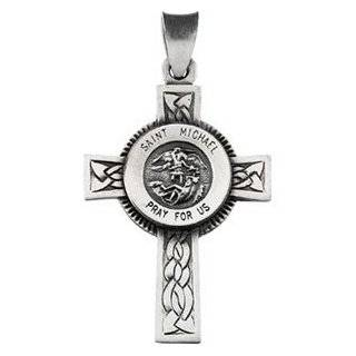 Sterling Silver 285x2075 Polished St Saint Michael the Archangel Guardian Angel Cross Saint Medal Pendant for Necklace Pendant Jewelry: Jewelry