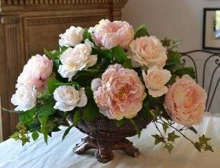 Classy Pink Peony Silk flower Centerpiece AR294   Artificial Mixed Flower Arrangements