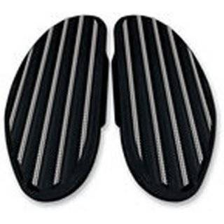 Covingtons Customs Finned Passenger Floorboards for 86 13 Harley FLT/FLHT/FLHR/FLHX and Trike; 86 13 FLST w/ Harley Rear Accessory Floorboard Mounts Gloss black Powder Coat (C1336 B) Automotive