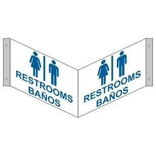 Restrooms With Symbol Sign RRB 6981Tri BLUonWHT Restrooms
