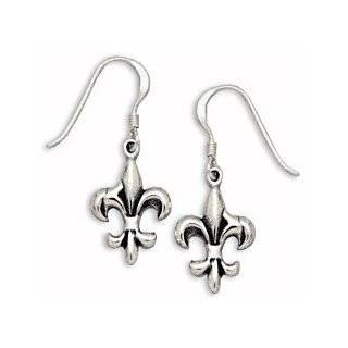 Sterling Silver Fleur De Lis Earrings on French Wire: West Coast Jewelry: Jewelry