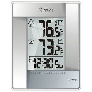 Oregon Scientific Wireless Indoor/Outdoor Thermometer with Self Setting Atomic Clock, Silver: Home & Kitchen