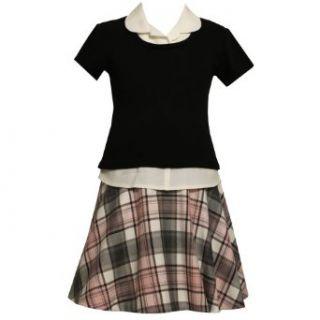 Size 20.5 BNJ 8153B GREY PINK BLACK WHITE PLAID MOCK LAYERED DROP WAIST School Girl Dress,B88153 Bonnie Jean Girl PLUS Clothing