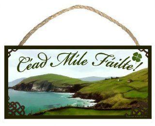 Irish Welcome Sign / Plaque C�ad M�le F�ilte featuring the art of Scott Rogers   Decorative Plaques