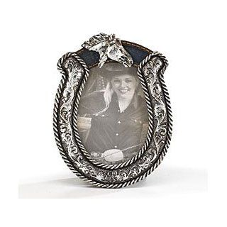 Horseshoe Shaped Picture Frame Silver Western Horse   Single Frames