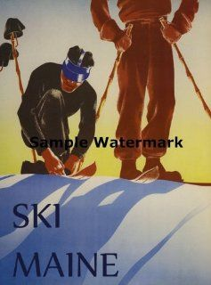 "Beautiful Maine New England Region of the Northeastern United States MEN Preparing for Skiing Ski Winter Sport 20"" X 30"" Image Size Vintage Poster Reproduction   Prints"